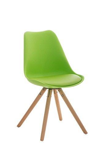 Design Besucherstuhl mit Holzgestell natura Retro Stuhl Konferenz Wartestuhl in Lime Grün / Sitzfläche Schale aus Kunststoff, Kunstleder