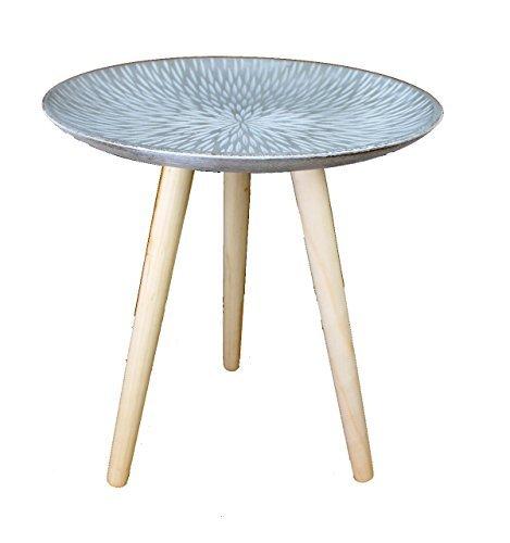 Design Retro Beistelltische 40 cm Holz Weiß Kaffeetisch Couchtisch Nachttisch (Design13-10Platte grau)