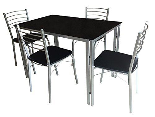 Essgruppe, Tischgruppe, Tischset, Esstisch, Küchentisch, Tisch, Esszimmerstuhl, Stuhl, Set, 5-teilig, schwarz, Glas