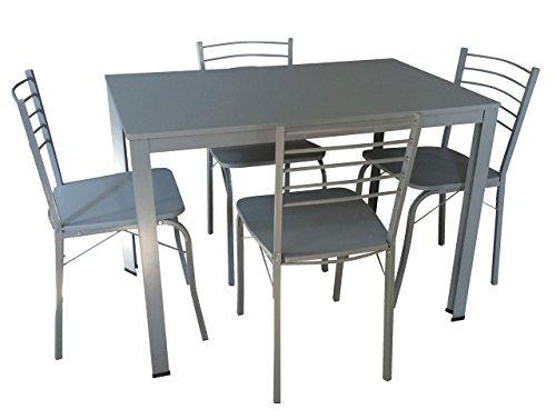 Essgruppe, Tischgruppe, Tischset, Esstisch, Küchentisch, Tisch, Esszimmerstuhl, Stuhl, Set, grau, silberfarben, 5-teilig