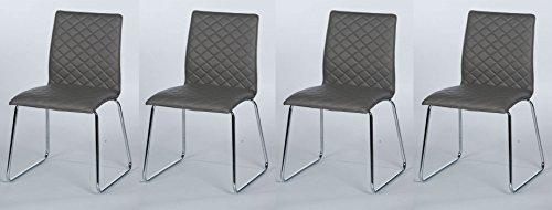 Esszimmerstühle, 4er Set, Stühle, Stuhl, Sitzgelegenheiten, Kunstlederstuhl, Küchenstühle, grau, Metallkufen, Diamand-Steppung, Kunstleder