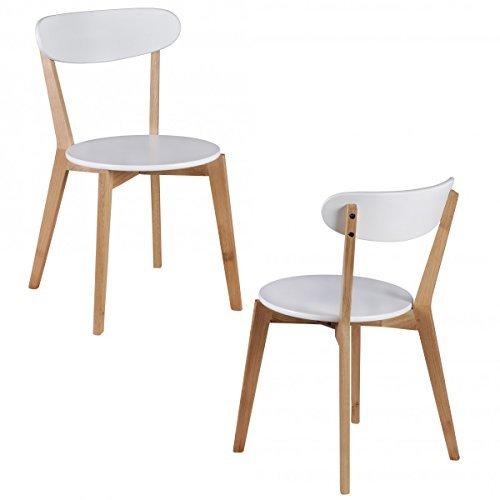 FineBuy 2er Set Esszimmerstühle MDF Weiß Design Holz-Stühle retro Küchenstühle skandinavisch Essstühle Sitzmöbel Retrostyle elegant Stuhlset nordisch Küchenmöbel Holzbeine Designerstuhl zweifarbig