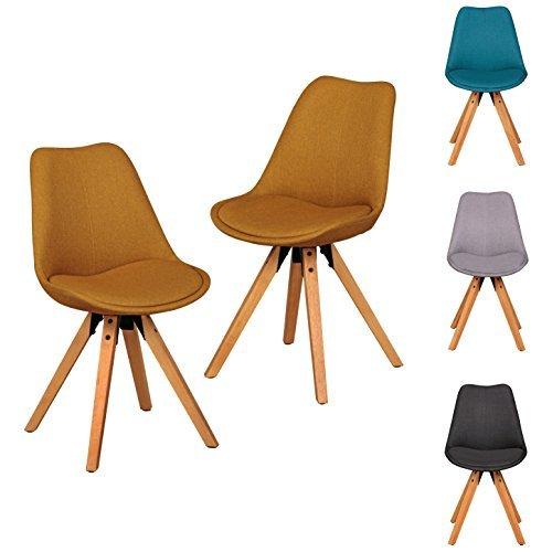 FineBuy 2er Set Retro Esszimmerstuhl ohne Armlehne in Stoff Bezug Curry | Küchenstuhl mit Lehne & 4 Holz Beinen | Design Essstuhl - gepolstert