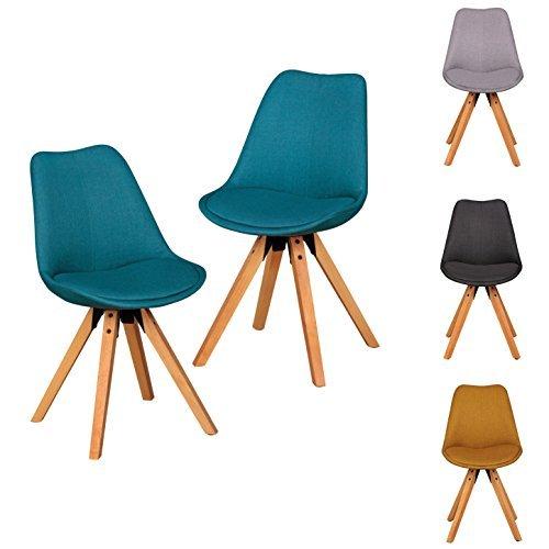 FineBuy 2er Set Retro Esszimmerstuhl ohne Armlehne in Stoff Bezug Petrol | Küchenstuhl mit Lehne & 4 Holz Beinen | Design Essstuhl - gepolstert