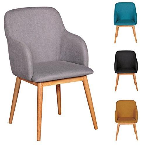 FineBuy Retro Esszimmerstuhl mit Armlehne in Stoff Bezug Grau   Küchenstuhl mit Lehne & 4 Holz Beinen   Design Essstuhl einzeln - gepolstert