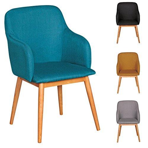 FineBuy Retro Esszimmerstuhl mit Armlehne in Stoff Bezug Petrol | Küchenstuhl mit Lehne & 4 Holz Beinen | Design Essstuhl einzeln - gepolstert