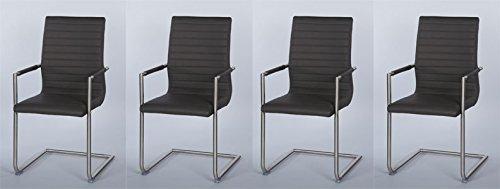 Freischwingerstühle, Freischwinger, Esszimmerstühle, 4er Set, Stühle, Stuhl, Sitzgelegenheiten, Kunstlederstuhl, Küchenstühle, grau, Kunstleder