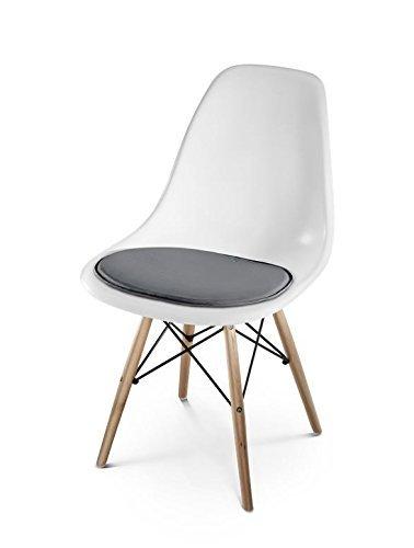 HILLMANN LIVING Sitzkissen Eames side chair - Sitzauflage aus Leder für Designklassiker Eames Side Chair, weich gepolstert und rutschfest, ca. 36,5 x 41 x 1 cm (COAL ANTHRACITE)