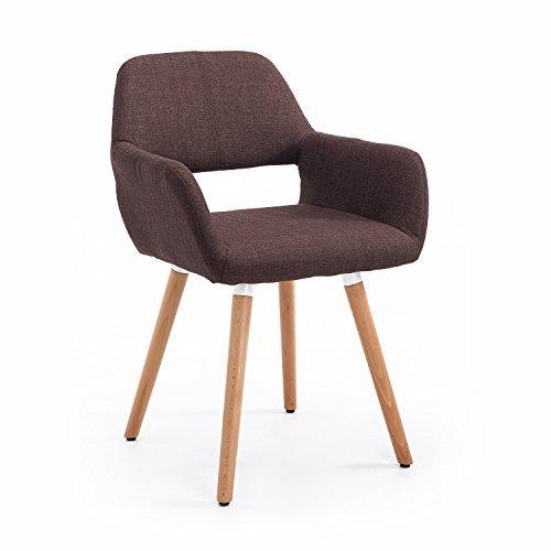 Homcom® Esszimmerstuhl Armsessel Wohnzimmerstuhl Küchenstuhl Sessel Stuhl Leinen Holz (braun)