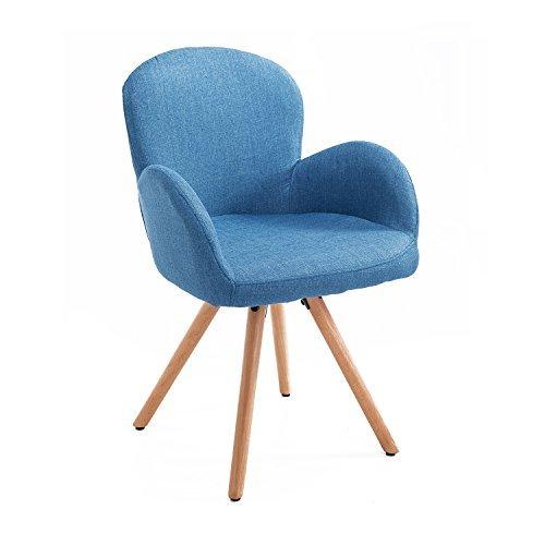 Homcom® Esszimmerstuhl Wohnzimmerstuhl Armsessel Sessel Stuhl Küchenstuhl Leinen Holz (blau)