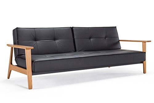 INNOVATION Living Sofa Bett Design Splitback Frej schwarz convertible 115 * 200 cm Armlehnen Holz