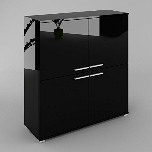 Labi Möbel KR6 Kommode Sideboard Anrichte Cosmo in Schwarz Hochglanz/Fronten:Schwarz Hochglanz