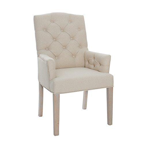 Leinenstuhl CASTLE beige mit Chesterfield Steppung Esszimmerstuhl Stuhl mit Armlehnen
