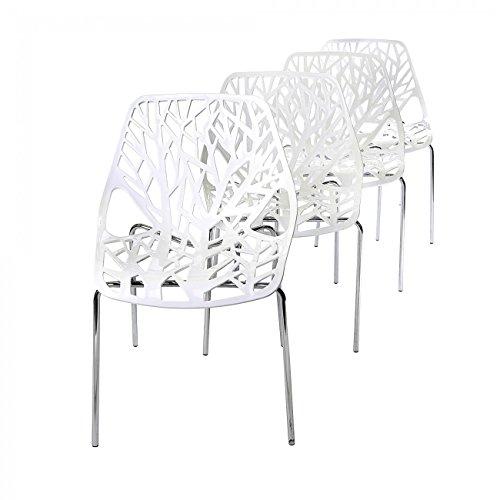 MY SIT Retro Stuhl Design Stuhl Esszimmerstühle Bürostuhl Wohnzimmerstühle Lounge Küchenstuhl Sitzgruppe 4er Set aus Kunststoff mit Rückenlehne CALUNA in Weiß