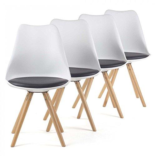 MY SIT Retro Stuhl Design Stuhl Esszimmerstühle Bürostuhl Wohnzimmerstühle Lounge Küchenstuhl Sitzgruppe 4er Set aus Kunststoff mit Rückenlehne MOOL in Schwarz/Weiß