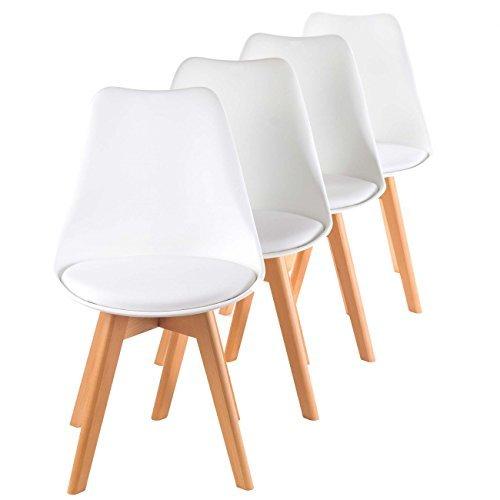 MY SIT Retro Stuhl Design Stuhl Esszimmerstühle Bürostuhl Wohnzimmerstühle Lounge Küchenstuhl Sitzgruppe 4er Set aus Kunststoff mit Rückenlehne ZURA in Weiß