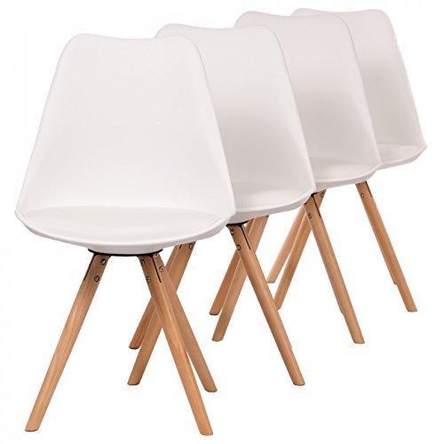 MY SIT Retro Stuhl Designerstuhl Esszimmerstühle Bürostuhl Wohnzimmerstühle Lounge Küchenstuhl Sitzgruppe 4er Set aus Kunststoff mit Rückenlehne MOOL in Weiss