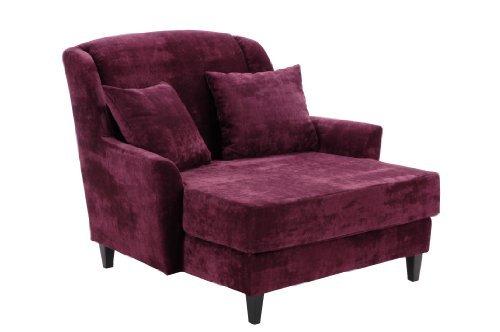 Max Winzer 2762-1100-2044135 Love-Seat Jana, Gemütlicher Einzelsessel im XXL-Format,Samtvelour, burgund