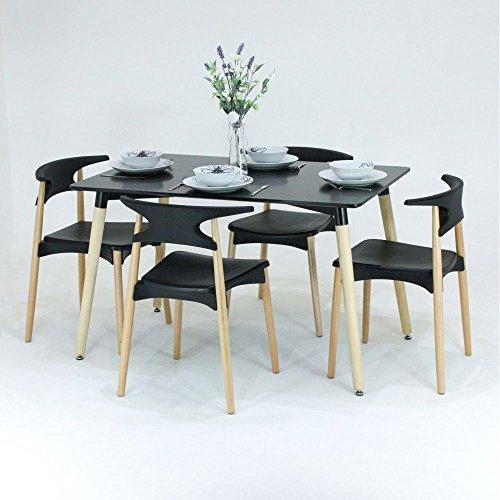 P & N Homewares® Basilio Esstisch und Stühle Set 4Stühle und 1schwarz oder weiß Esstisch Retro und Moderne Esszimmergarnitur weiß oder schwarz Stühle Black table Black Chairs