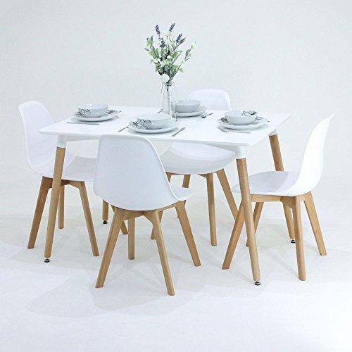 P & N Homewares® EVA Esstisch und Stühle Set 4Stühlen und 1Esstisch Retro und Moderne Esszimmergarnitur weiß schwarz und grau Stühle schwarz