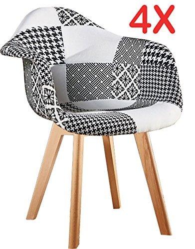 P & N Homewares® Fabia schwarz und weiß Patchwork Esstisch und Stuhl Set mit Wahl zu kaufen Set Stühle nur skandinavischen Dining Set Tulip Stuhl Beine Design, 4 Chairs Only