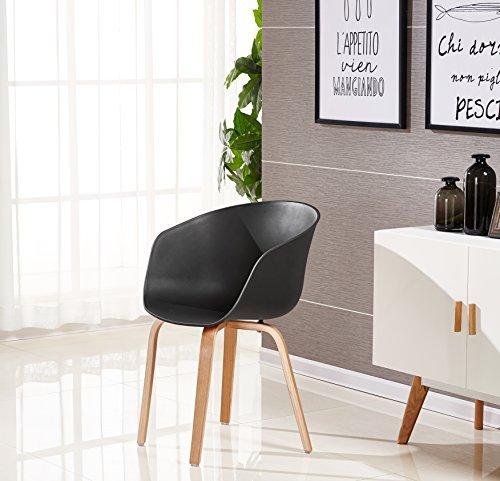 P & N Homewares® Marcelo Tub Stuhl Moderne und Retro Esszimmer Stuhl oder Büro Stuhl oder Wohnzimmer Stuhl Verschiedene Farben Weiß Schwarz Grau Rot Braun Rosa Gelb und viele mehr skandinavischen Wanne Farben (SCHWARZ)