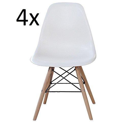 P & N Homewares® Moda Esszimmerstuhl Kunststoff Holz Retro Esszimmer Stühle weiß modernes Möbel, weiß, 4 CHAIR