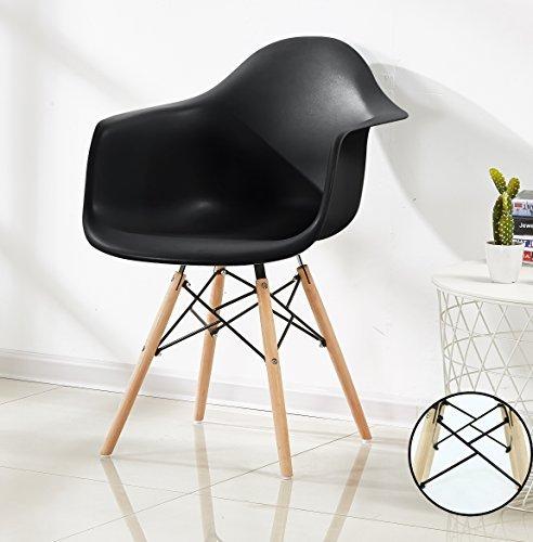 P & N Homewares® Romano Da Moda Wanne Stuhl Kunststoff Retro Esszimmer Stühle weiß schwarz grau rot gelb grün schwarz