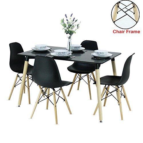 P & N Homewares® Romano Moda Dining Set Retro Inspiriert Stuhl und Tisch wird mit Schwarz Tisch und 4schwarz Stühle Moderne Esszimmergarnitur schwarz