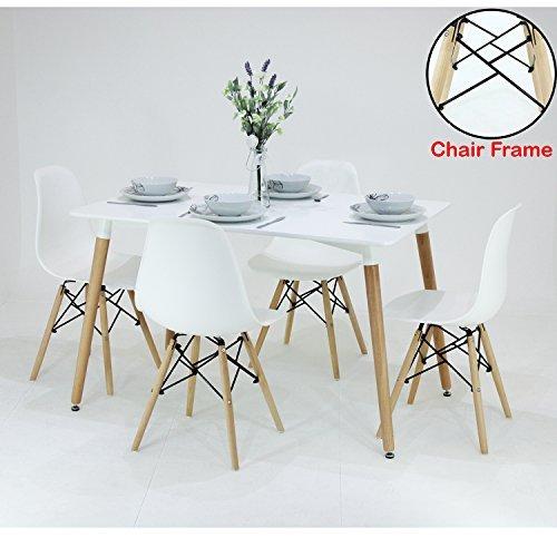P & N Homewares® Romano Moda Esstisch Set Retro Inspiriert Stuhl und Tisch wählen Sie Farbe, weiß oder grau wird mit Weiß Tisch Moderne Esszimmergarnitur weiß