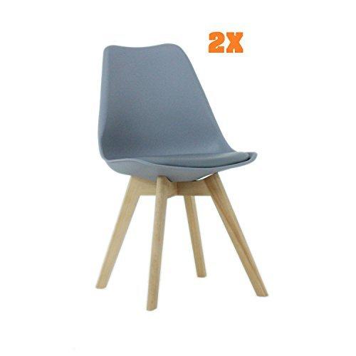 P & N Homewares® (Set von 2) Lorenzo Tulip Stuhl Kunststoff Retro Esszimmer Stühle weiß schwarz grau rot gelb pink grün blau grau