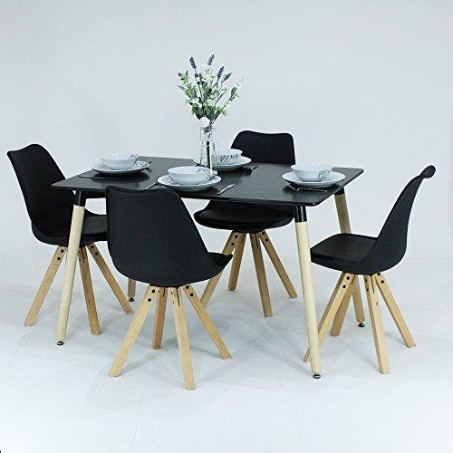P & N Homewares® Sophia Esstisch und 4Stühle Set Retro Stühle schwarz oder weiß erhältlich Tisch weiß schwarz oder grau moderne Retro Modern skandinavischen Möbeln Black Table+Black Chairs