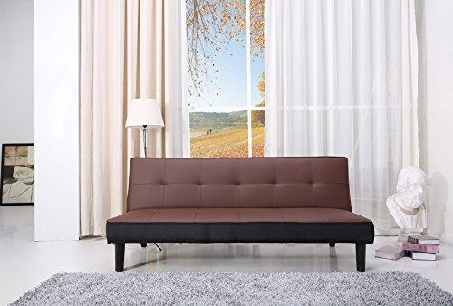 Paulo Schlafcouch Kunstleder braun Schlaffunktion Sofa
