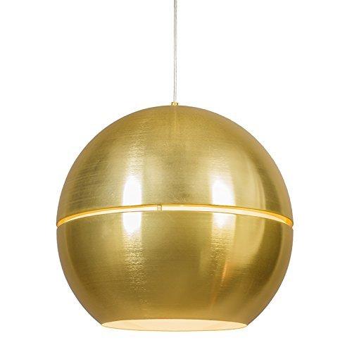 QAZQA Art Deco / Design / Modern / Retro / Esstisch / Esszimmer / Pendelleuchte / Pendellampe / Hängelampe / Lampe / Leuchte Slice 50 Gold / Messing Aluminium Rund / Kugel / Kugelförmig / LED geeignet E27 Max. 2 x 60 Watt / 2 flammig