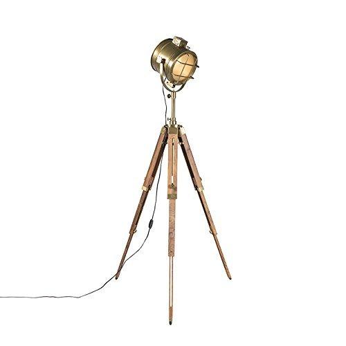 QAZQA Design / Industrie / Modern / Stehleuchte / Stehlampe / Standleuchte / Lampe / Leuchte Tripod Lampe / Dreifuss Naturholz mit Gold / Messing Glas / / Metall / Rund / Andere / LED geeignet E27 Max. 1 x 60 Watt
