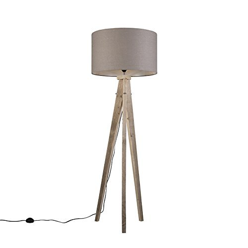 QAZQA Design / Landhaus / Vintage / Rustikal / Stehleuchte / Stehlampe / Standleuchte / Lampe / Leuchte Karos Natur mit Lampenschirm 55 cm altgrau Holz / Textil / Rund / Länglich / LED geeignet E27 Max. 1 x 60 Watt