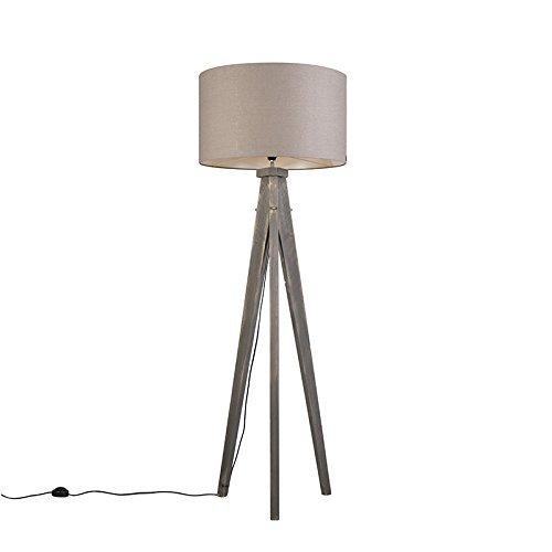 QAZQA Design / Landhaus / Vintage / Rustikal / Stehleuchte / Stehlampe / Standleuchte / Lampe / Leuchte Karos grau mit Lampenschirm 55 cm altgrau Holz / Textil / Rund / Länglich / LED geeignet E27 Max. 1 x 60 Watt