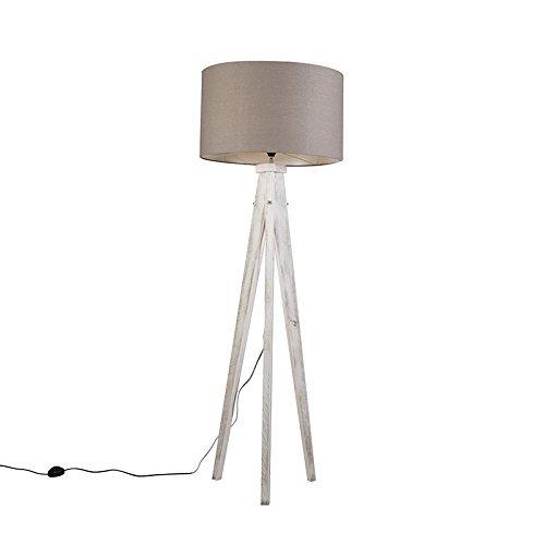 QAZQA Design / Landhaus / Vintage / Rustikal / Stehleuchte / Stehlampe / Standleuchte / Lampe / Leuchte Karos weiß mit Lampenschirm 55 cm altgrau Holz / Textil / Rund / Länglich / LED geeignet E27 Max. 1 x 60 Watt