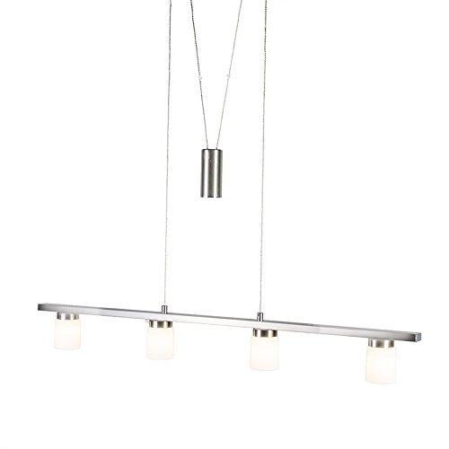 QAZQA Design / Modern / Esstisch / Esszimmer / Puristische Pendelleuchte / Pendellampe / Hängelampe / Lampe / Leuchte Moulin stahl / nickel matt Metall Länglich inklusive LED (nicht austauschbare) LED Max. 4 x 4.5 Watt / 4 flammig Dimmer / Dimmbar Höhenverstellbar