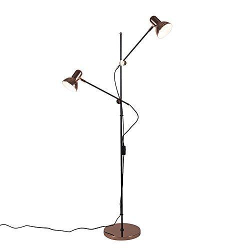 QAZQA Design / Modern / Stehleuchte / Stehlampe / Standleuchte / Lampe / Leuchte Joe 2 flammig kupfer Metall Länglich LED geeignet E27 Max. 2 x 60 Watt Höhenverstellbar