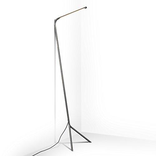 QAZQA Design / Modern / Stehleuchte / Stehlampe / Standleuchte / Lampe / Leuchte Lazy Lamp stahl / nickel matt Metall Länglich inklusive LED (nicht austauschbare) LED Max. 1 x 12 Watt Dimmer / Dimmbar