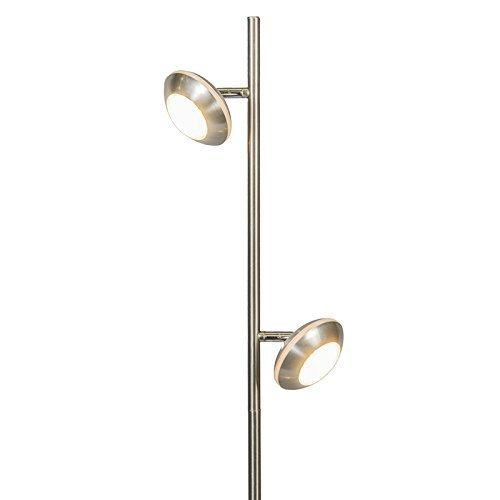 QAZQA Design / Modern / Stehleuchte mit Leseleuchte / Stehlampe / Standleuchte / Lampe / Leuchte Ufo 2 flammig stahl / nickel matt Kunststoff / Metall / Rund / Länglich / inklusive LED (nicht austauschbare) LED Max. 2 x 5 Watt