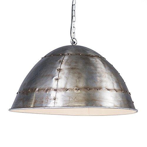 QAZQA Industrie Esstisch / Esszimmer / Pendelleuchte / Pendellampe / Hängelampe / Lampe / Leuchte Tibet antikstahl / nickel matt Metall Rund LED geeignet E27 Max. 1 x 40 Watt
