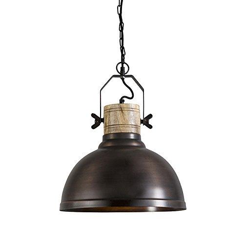 QAZQA Industrie / Landhaus / Vintage / Rustikal / Pendelleuchte / Pendellampe / Hängelampe / Lampe / Leuchte Katel kupfer Holz / Metall / Rund LED geeignet E27 Max. 1 x 40 Watt