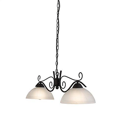 QAZQA Landhaus / Vintage / Rustikal Esstisch / Esszimmer / Pendelleuchte / Pendellampe / Hängelampe / Lampe / Leuchte Dallas 2 flammig rostbraun Glas / Metall / Rund / Länglich / LED geeignet E27 Max. 2 x 100 Watt