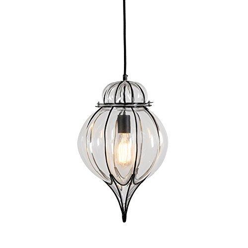 QAZQA Landhaus / Vintage / Rustikal Pendelleuchte / Pendellampe / Hängelampe / Lampe / Leuchte Venice 2 schwarz mit hellem Glas / Metall / Andere LED geeignet E27 Max. 1 x 60 Watt