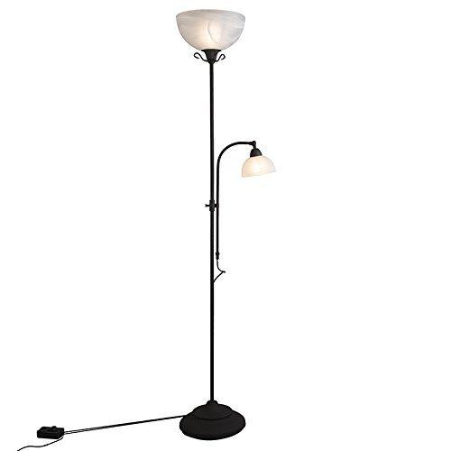QAZQA Landhaus / Vintage / Rustikal Stehleuchte / Stehlampe / Standleuchte / Lampe / Leuchte Dallas 2 rostbraun Glas / Metall / Rund / Länglich / E27 Max. 1 x 100 Watt Dimmer / Dimmbar