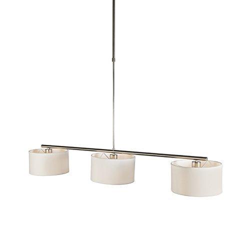 QAZQA Modern Esstisch / Esszimmer / Pendelleuchte / Pendellampe / Hängelampe / Lampe / Leuchte VT 3 flammig rund weiß Metall / Textil / Länglich LED geeignet E27 Max. 3 x 60 Watt