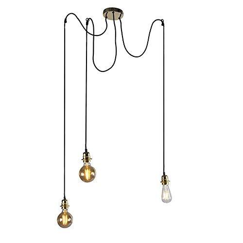 QAZQA Modern Esstisch / Esszimmer / Puristische Pendelleuchte / Pendellampe / Hängelampe / Lampe / Leuchte Cava 3 flammig Gold / Messing Metall Rund / Länglich / LED geeignet E27 Max. 3 x 60 Watt