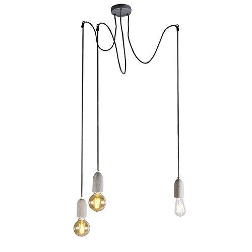 QAZQA Modern Esstisch / Esszimmer / Puristische Pendelleuchte / Pendellampe / Hängelampe / Lampe / Leuchte Cava 3 flammig beton Stein / Rund / Länglich / LED geeignet E27 Max. 3 x 60 Watt